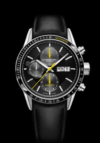 0d40617ba فولاذ مقاوم للصدأ، معصم من الجلد الأسود، مينا باللون الأسود، حافة بها مقياس  سرعة الدوران
