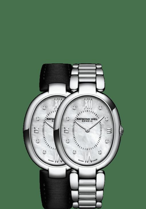 RAYMOND WEIL 1700-st-00995 ladies 8 diamond classic oval interchangeable bracelet watch