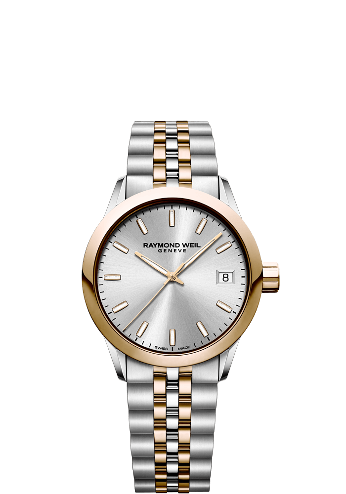 RAYMOND WEIL freelancer ladies 34mm two-tone rose gold watch
