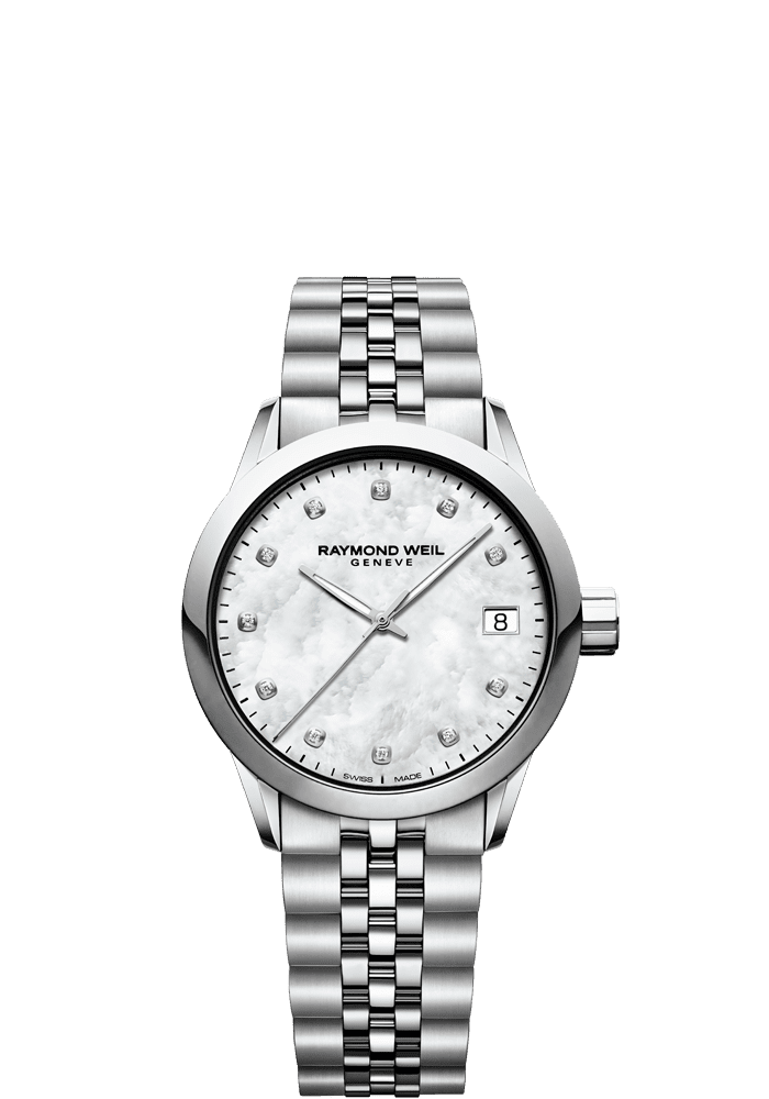 RAYMOND WEIL freelancer ladies 34mm mother-of-pearl diamond steel watch