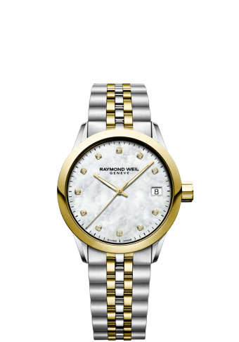 RAYMOND WEIL freelancer 34mm two-tone gold diamond women's watch