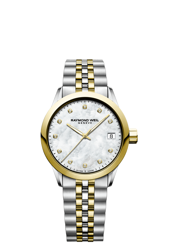 RAYMOND WEIL freelancer 34mm two-tone gold diamond women's watch