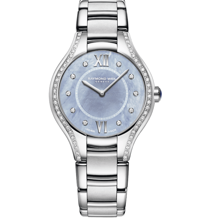 RAYMOND WEIL Noemia Ladies Stainless Steel Blue Diamond Quartz Watch, 32mm
