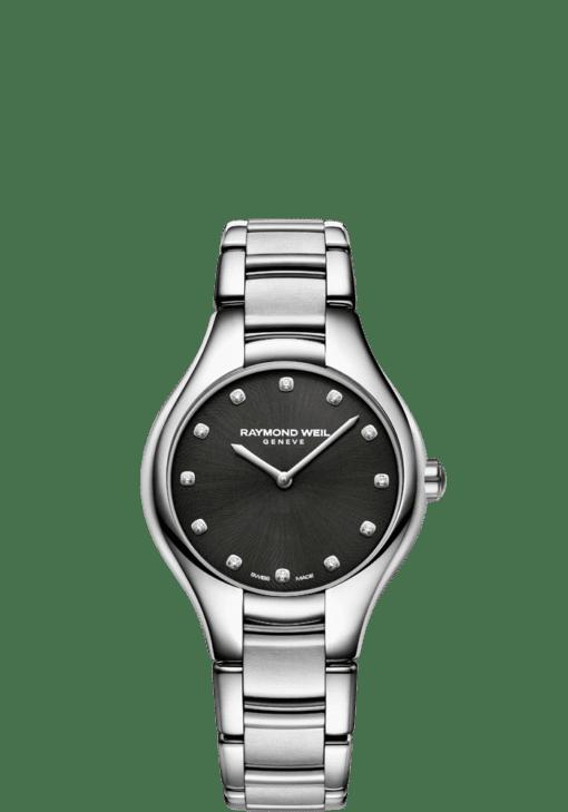 RAYMOND WEIL Noemi 5132-st-20081 black dial diamond watch