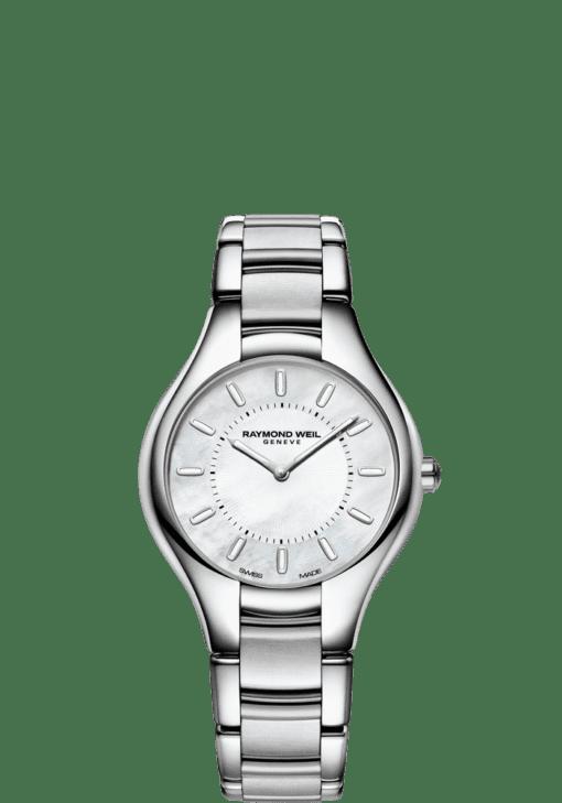 RAYMOND WEIL 娜美亚女士不锈钢白色珍珠贝母石英腕表