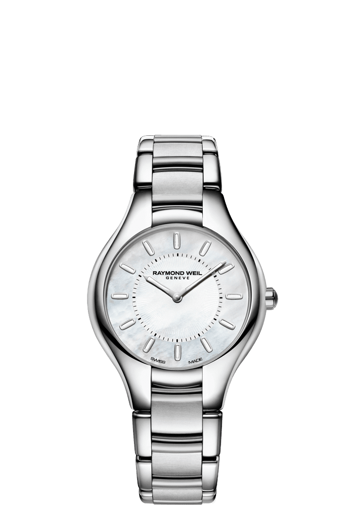 RAYMOND WEIL noemia ladies stainless steel white. mother-of-pearl quartz watch