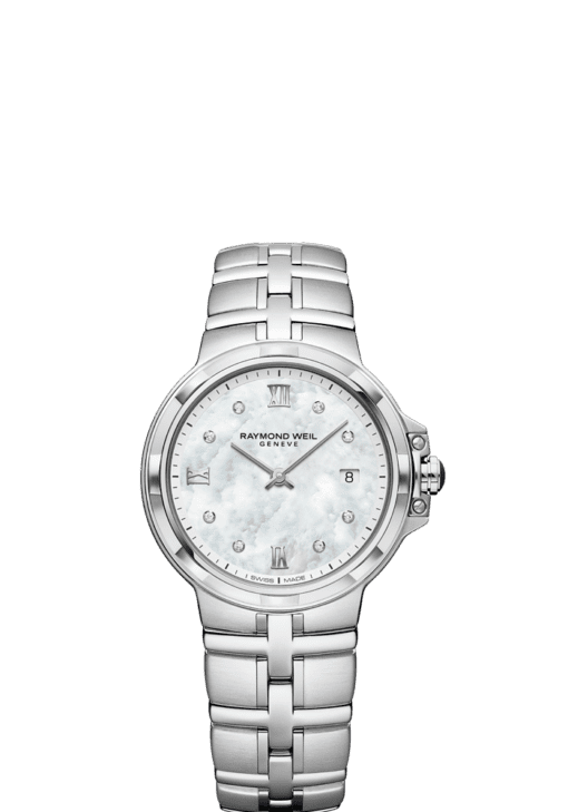 RAYMOND WEIL parsifal ladies mother-of-pearl 8 diamond dial watch