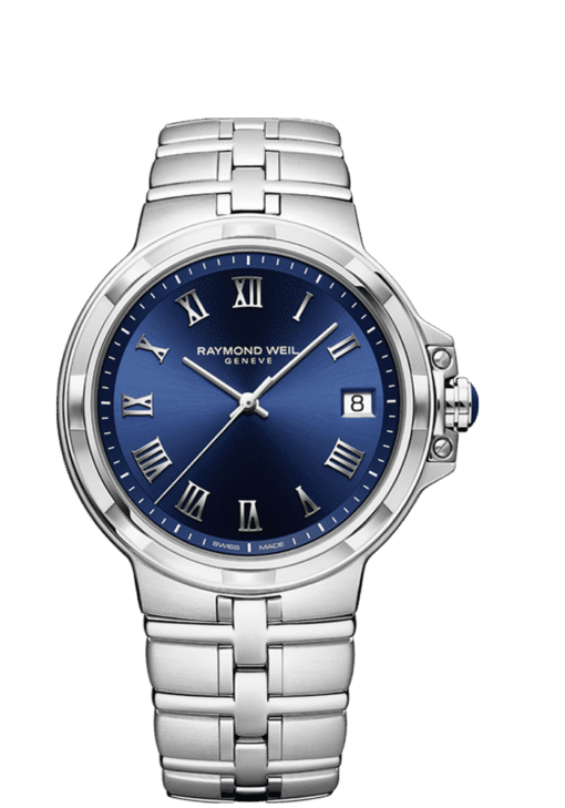 RAYMOND WEIL men's parsifal classic blue dial bracelet watch 41mm