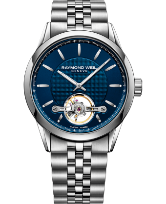a699fb9d11b stainless steel bracelet, blue dial, visible balance wheel