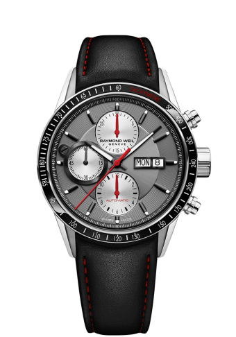 27a1dc4217b stainless steel, black leather strap, silver dial, tachymeter bezel